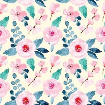 柔らかいピンク水彩花のシームレスパターン