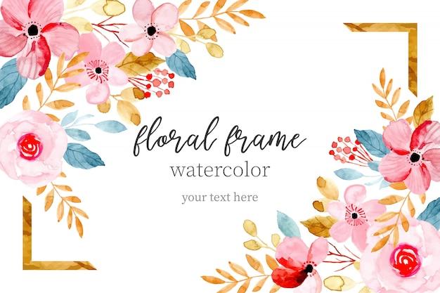 甘い水彩花のフレームカード