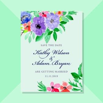 日付カードを保存する水彩画の花