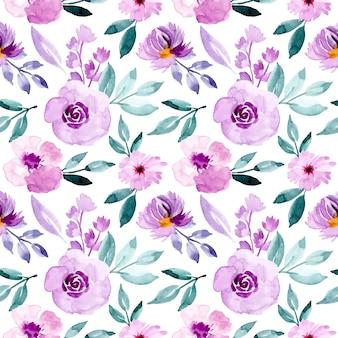 水彩花と紫と緑のパターン