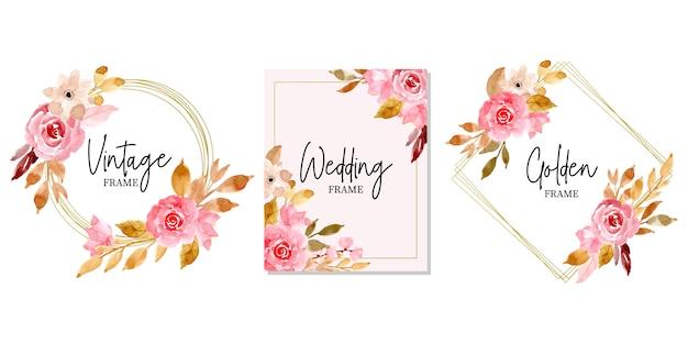 水彩花のコレクションと黄金の結婚式のフレーム