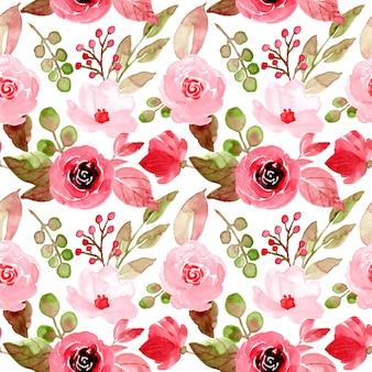 赤い花の水彩画のシームレスパターン