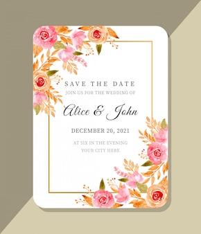 花の水彩画との結婚式のテンプレート