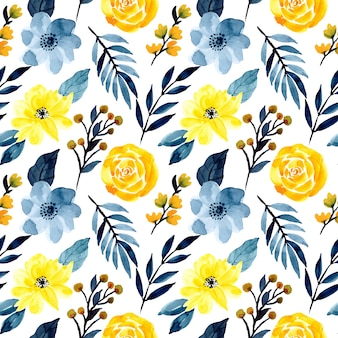 青と黄色の花の水彩画のシームレスパターン