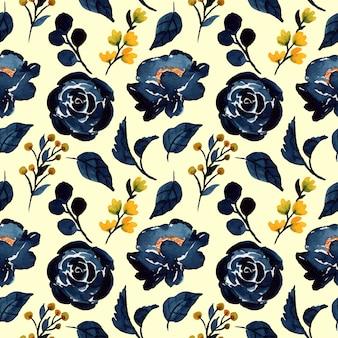 ブルーインディゴ水彩花柄シームレスパターン