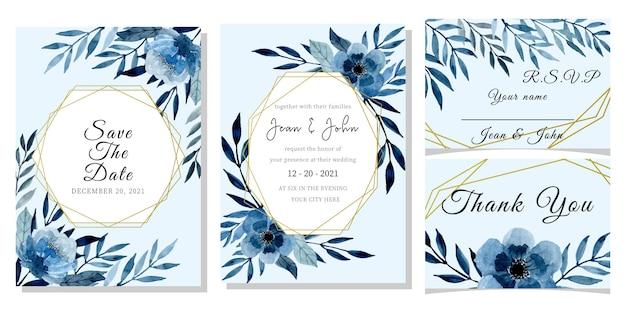 花の水彩画と青い結婚式招待状カードのテンプレート