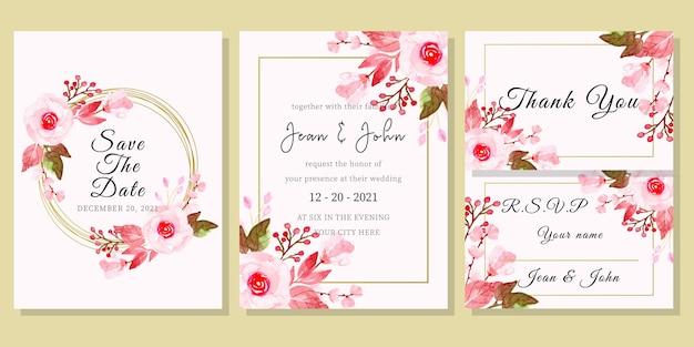 花の水彩画と結婚式の招待カードテンプレート