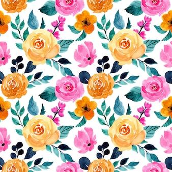 カラフルな水彩花柄シームレスパターン