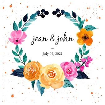 結婚式の招待カードのテンプレートのためのカラフルな水彩フローラルリース