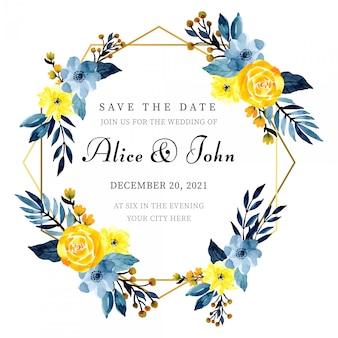花の水彩画とゴールデンフレーム結婚式招待状カードのテンプレート