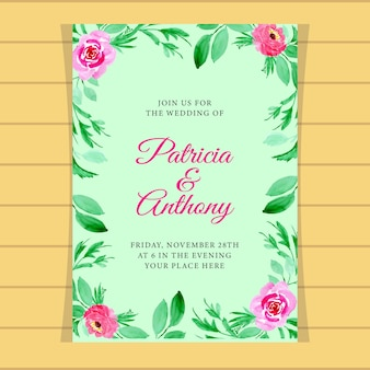 結婚式招待状の花の水彩ストライプの背景