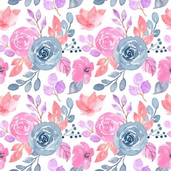 花の水彩画と柔らかいパターン