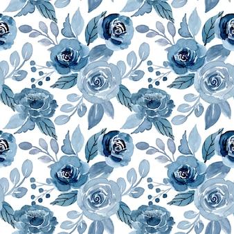 青い水彩花柄シームレス