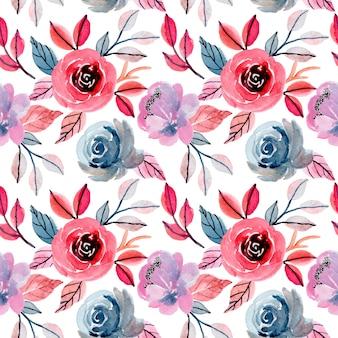 花の水彩画とカラフルなシームレスパターン
