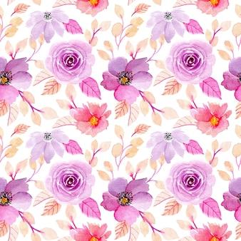 紫水彩花柄シームレス
