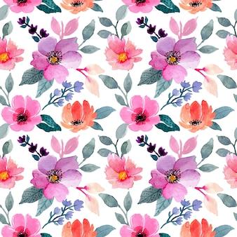カラフルな水彩花柄シームレス