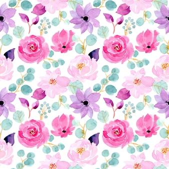 緑とピンクの水彩花柄シームレス
