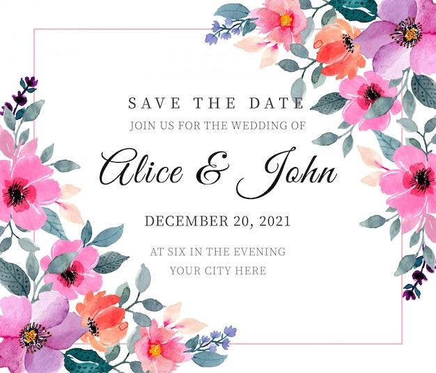 日付を保存。花の水彩画と結婚式カードの招待状のテンプレート