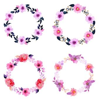水彩花の花輪コレクション