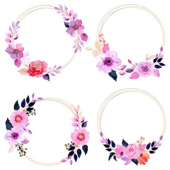 ゴールデンフレームと水彩の花の花輪