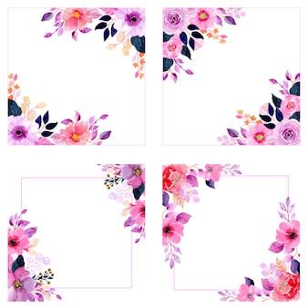 結婚式の水彩画の花のフレームコレクション