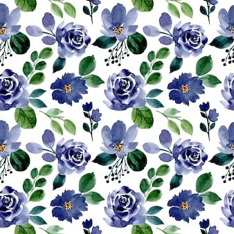 緑と青の水彩花柄シームレス