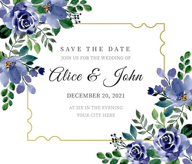 花の水彩画と緑と青の結婚式の招待状