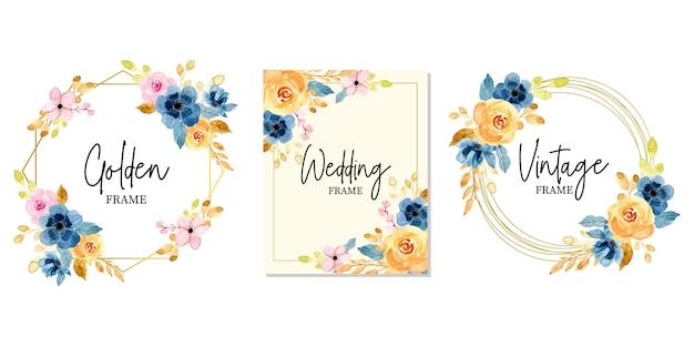 黄金の結婚式の花の水彩画フレームコレクション
