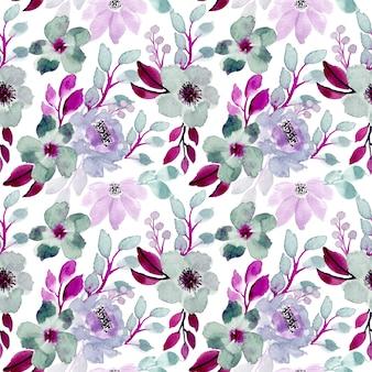 紫と緑の水彩花柄シームレス