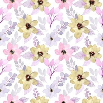 花の水彩画と柔らかい紫色のシームレスパターン