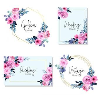 花の水彩画のコレクションと美しい黄金の結婚式のフレーム