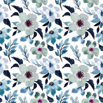 水彩画と青い花柄シームレス