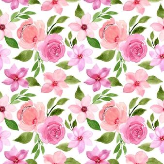 グリーンピンク水彩花柄シームレス