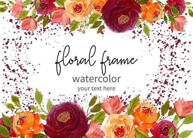 ドットの背景を持つ花の水彩画フレーム