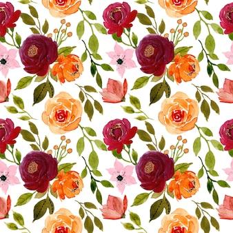 赤とオレンジの花の水彩画のシームレスパターン