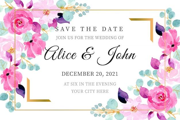 日付を保存。ピンクの花の水彩画の結婚式の招待カードのテンプレート