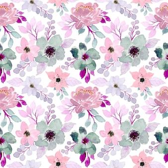 柔らかい花の水彩画のシームレスパターン