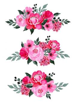 Красная и зеленая цветочная коллекция акварели
