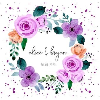 紫の花の水彩画の花輪