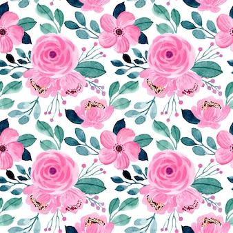 美しいピンクと緑の花の水彩画のシームレスパターン