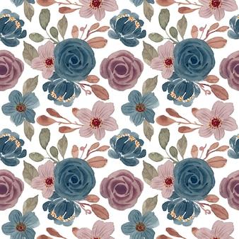 花の水彩画とビンテージパターン