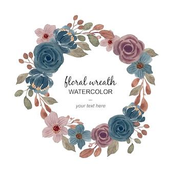 ビンテージ水彩花の花輪
