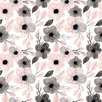 柔らかいピンク水彩花柄シームレス