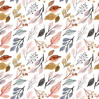 柔らかい水彩画の葉のシームレスなパターン