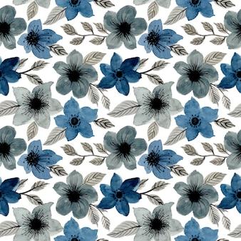 青灰色水彩花柄シームレス