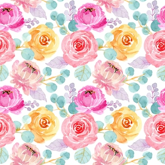 素敵な水彩花柄シームレス