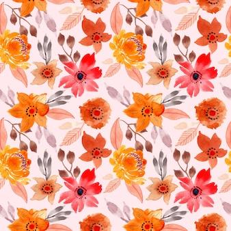 赤黄色水彩花柄シームレス
