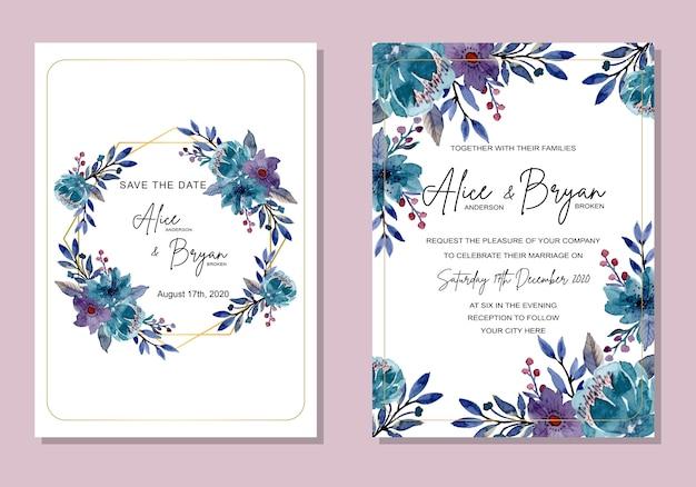 青い花の水彩画との結婚式の招待カード