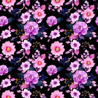 水彩花のシームレスなパターン