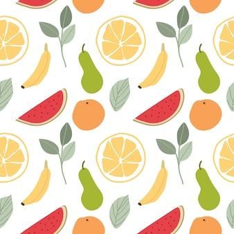 果物と葉シームレスなパターン